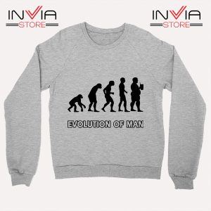 Best Sweatshirt Evolution Man Beer Custom Sweater Sport Grey