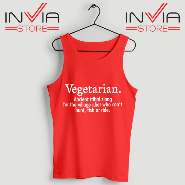 Best Tank Top Vegetarian Cant Hunt Fish Funny Tanks Top Size S-3XL Red