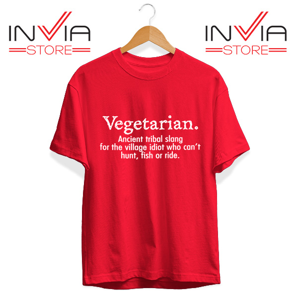 Best Tshirt Vegetarian Cant Hunt Fish Funny Tee Shirt Size S-3XL Red