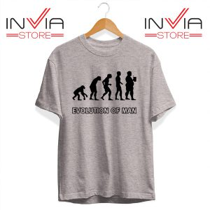 Best Tshirt evolution Man Beer Custom Tee Shirt Size S-3XL Grey