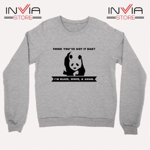 Buy Sweatshirt Im Black White Cute Panda Sweater Size S-3XL Grey