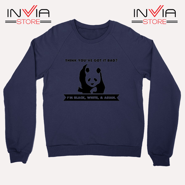 Buy Sweatshirt Im Black White Cute Panda Sweater Size S-3XL Navy