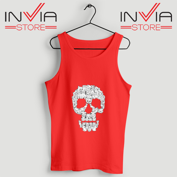 Buy Tank Skulls Are For Pussies Custom Size S-3XL Red