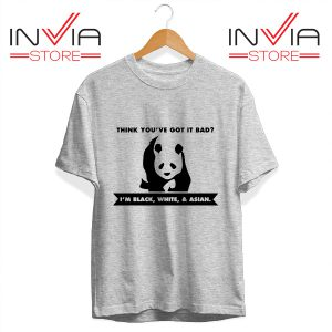 Buy Tshirt Im Black White & Asian Cute Panda Size S-3XL Grey