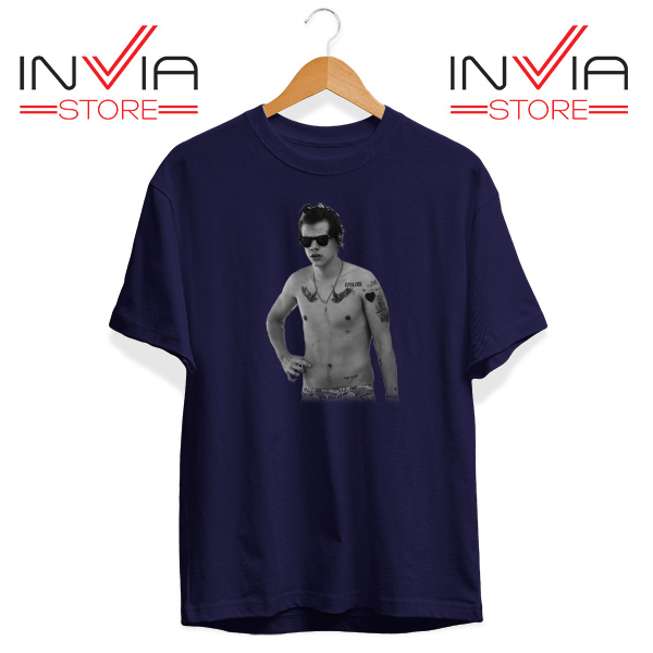 Buy Tshirt One Direction Harry Style Tattoo Size S-3XL Navy