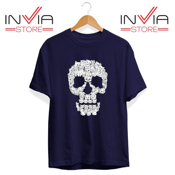 Buy Tshirt Skulls Are For Pussies Tee Shirt Size S-3XL Navy