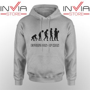 Custom Hoodie Evolution Man Beer Human Evolution Adult Unisex Sport Grey