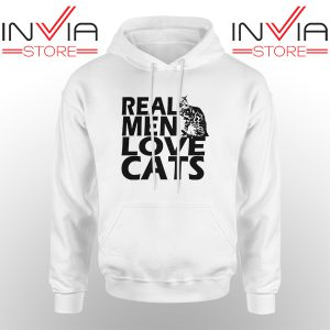 Best Hoodie Real Men Love Cats Black Hoodies Adult Unisex White