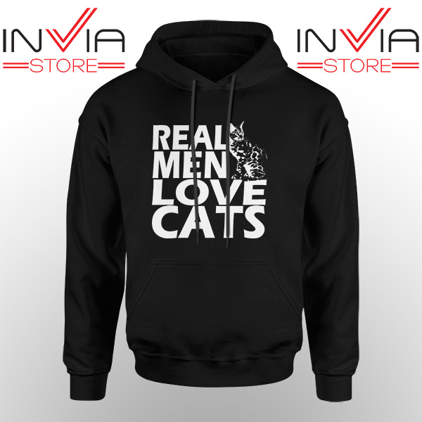 Best Hoodie Real Men Love Cats White Hoodies Adult Unisex Black