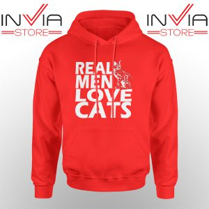 Best Hoodie Real Men Love Cats White Hoodies Adult Unisex Red