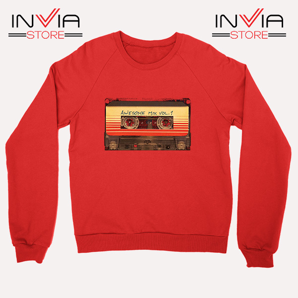 Buy Sweatshirt Awesome Mix Cassette Guardian Sweater Size S-3XL Red