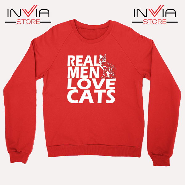 Buy Sweatshirt Real Men Love Cats White Sweater Size S-3XL Red
