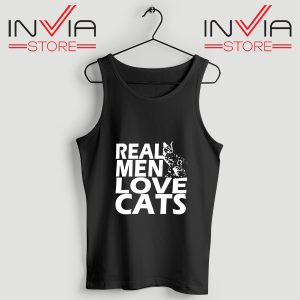 Buy Tank Top Real Men Love Cats White Custom Size S-3XL Black