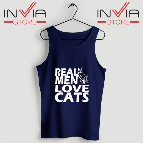 Buy Tank Top Real Men Love Cats White Custom Size S-3XL Navy