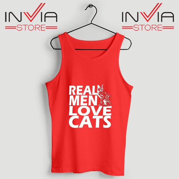 Buy Tank Top Real Men Love Cats White Custom Size S-3XL Red