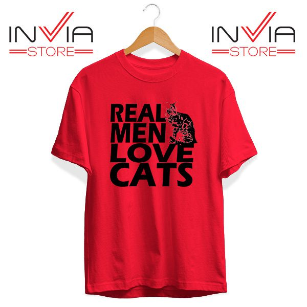 Buy Tshirt Real Men Love Cats Black Tee Shirt Size S-3XL Red