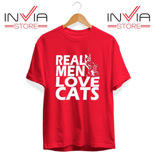 Buy Tshirt Real Men Love Cats White Tee Shirt Size S-3XL Red