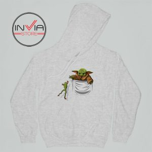 Baby Yoda Hunting Frogs Pocket Hoodie Adult Unisex Grey