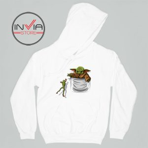 Baby Yoda Hunting Frogs Pocket Hoodie Adult Unisex White