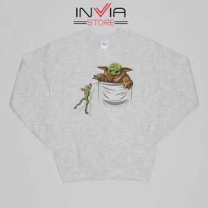 Baby Yoda Hunting Frogs Pocket Sweatshirt Buy Sweater Size S-XL Grey