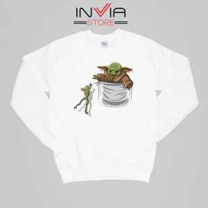Baby Yoda Hunting Frogs Pocket Sweatshirt Buy Sweater Size S-XL White