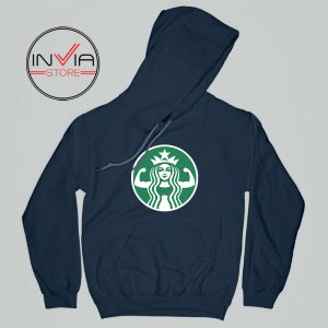 Starbuff She Works Out Starbucks Hoodie Funny Adult Unisex Navy