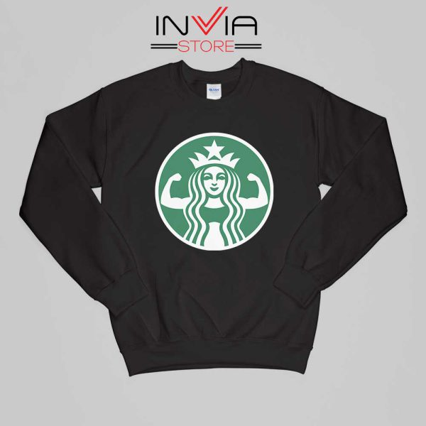 Starbuff She Works Out Starbucks Sweatshirt Funny Size S-XL Black