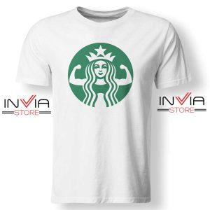 Starbuff She Works Out Starbucks TShirt Funny Size S-XL White