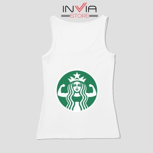 Starbuff She Works Out Starbucks Tank Top Music Custom Size S-XL White