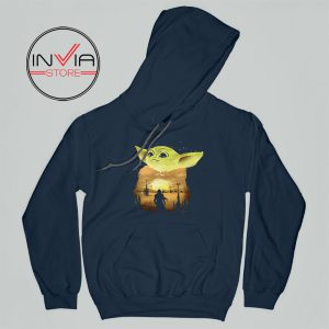 Baby Yoda Sunset Star Wars Hoodie Movie Adult Unisex Navy