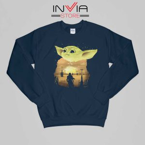 Baby Yoda Sunset Star Wars Sweatshirt Movie Size S-XL Navy
