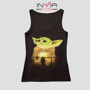 Baby Yoda Sunset Star Wars Tank Top Movie Custom Black