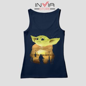 Baby Yoda Sunset Star Wars Tank Top Movie Custom Navy