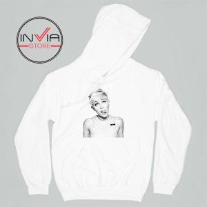 Miley Cyrus Wrecking Ball Face Hoodie Celebrity Adult Unisex White