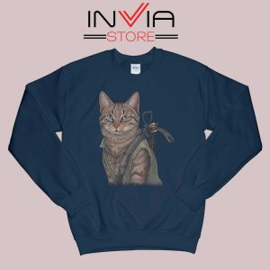 Norman Reedus Cat Sweatshirt Navy