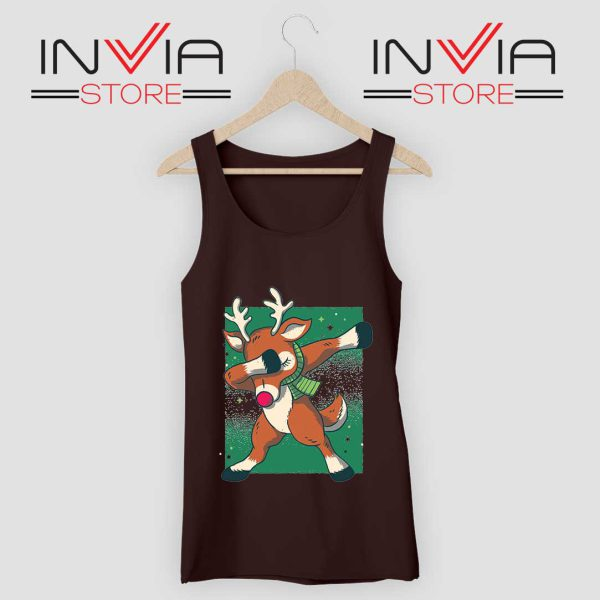 Reindeer Dab Christmas Tank Top Black