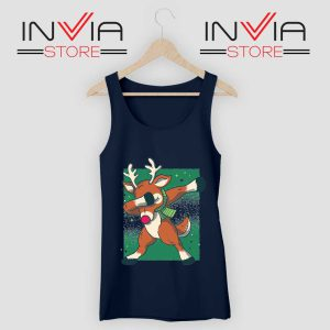 Reindeer Dab Christmas Tank Top Navy