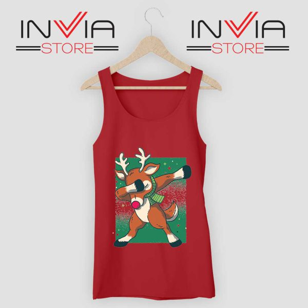 Reindeer Dab Christmas Tank Top Red