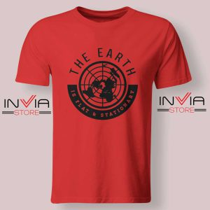 The Earth Is Flat and Stationary Tshirt Red