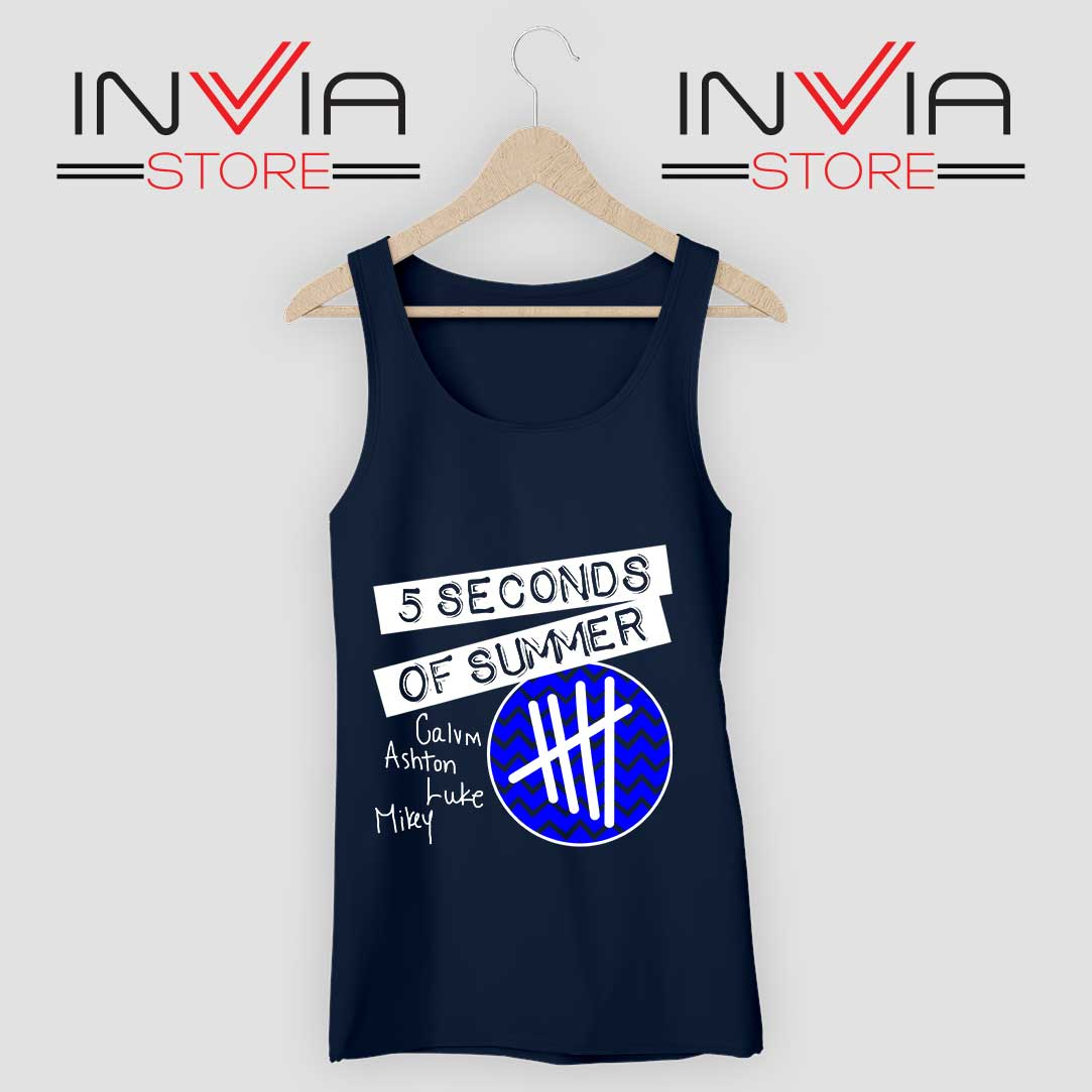 5SOS Concert Merch Tank Top Navy