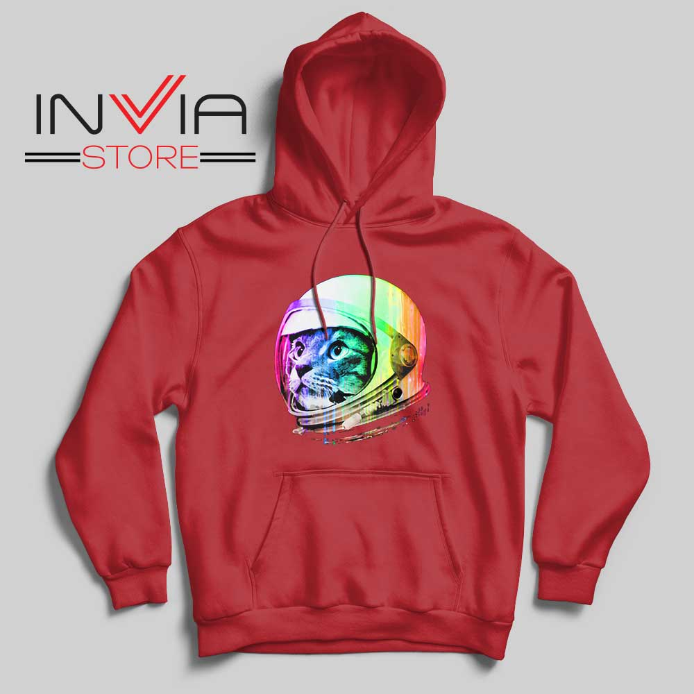Astronaut Space Cat Hoodie Red