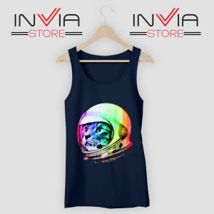 Astronaut Space Cat Tank Top Navy