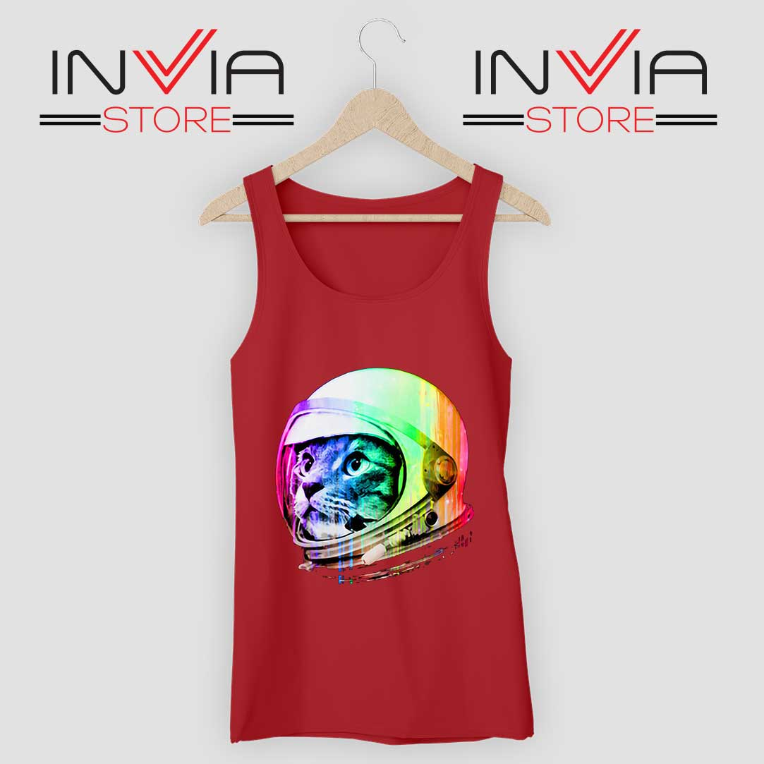 Astronaut Space Cat Tank Top Red