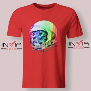 Astronaut Space Cat Tshirt Red