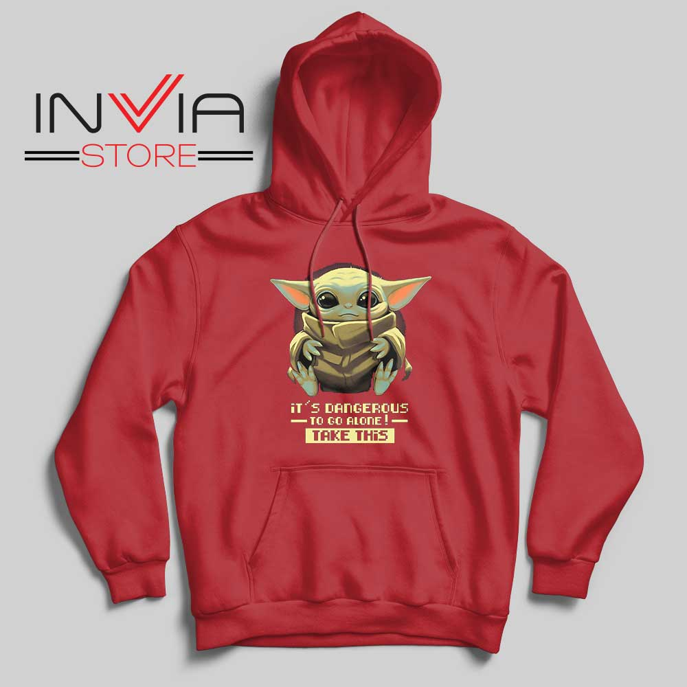 Baby Yoda Its Dangerous Hoodie Red