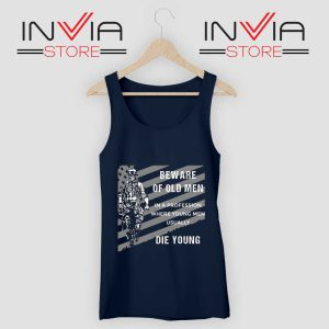 Beware of old Men Tank Top Navy