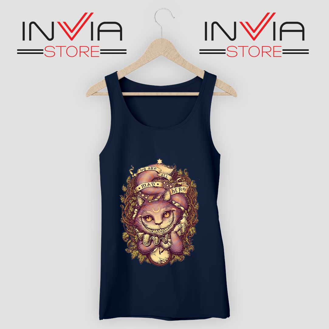 Cheshire Cat Art Relax Tank Top Navy