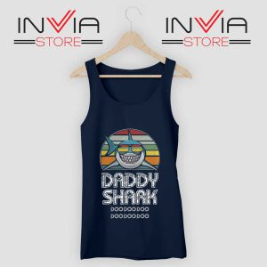 Daddy Shark Doo Doo Doo Retro Tank Top Navy