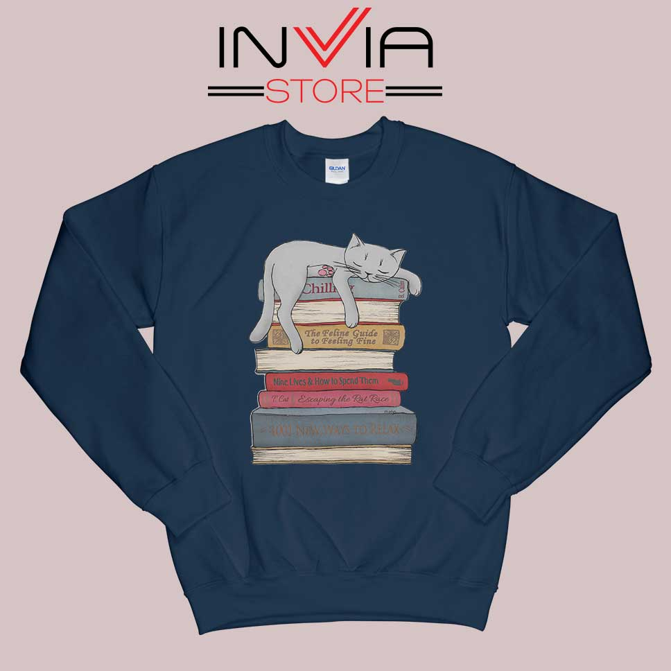 How to Chill Like a Cat Sweatshirt Navy