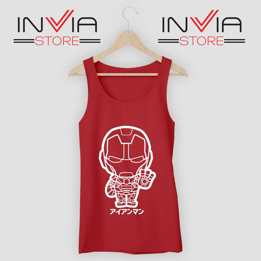 Iron Man Japanese Chibi Tank Top Red